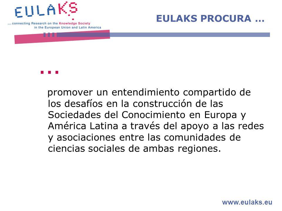 www.eulaks.eu EULAKS PROCURA … … promover un entendimiento compartido de los desafíos en la construcción de las Sociedades del Conocimiento en Europa y América Latina a través del apoyo a las redes y asociaciones entre las comunidades de ciencias sociales de ambas regiones.