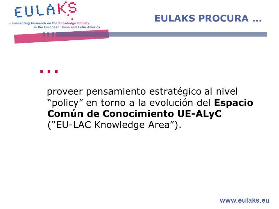 www.eulaks.eu … proveer pensamiento estratégico al nivel policy en torno a la evolución del Espacio Común de Conocimiento UE-ALyC (EU-LAC Knowledge Area).