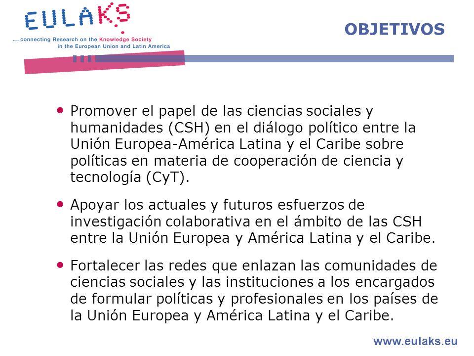 www.eulaks.eu OBJETIVOS Promover el papel de las ciencias sociales y humanidades (CSH) en el diálogo político entre la Unión Europea-América Latina y el Caribe sobre políticas en materia de cooperación de ciencia y tecnología (CyT).