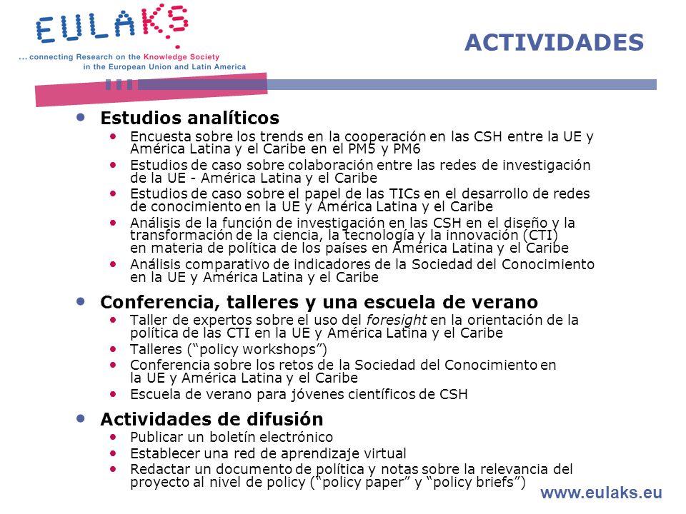 www.eulaks.eu ACTIVIDADES Estudios analíticos Encuesta sobre los trends en la cooperación en las CSH entre la UE y América Latina y el Caribe en el PM5 y PM6 Estudios de caso sobre colaboración entre las redes de investigación de la UE - América Latina y el Caribe Estudios de caso sobre el papel de las TICs en el desarrollo de redes de conocimiento en la UE y América Latina y el Caribe Análisis de la función de investigación en las CSH en el diseño y la transformación de la ciencia, la tecnología y la innovación (CTI) en materia de política de los países en América Latina y el Caribe Análisis comparativo de indicadores de la Sociedad del Conocimiento en la UE y América Latina y el Caribe Conferencia, talleres y una escuela de verano Taller de expertos sobre el uso del foresight en la orientación de la política de las CTI en la UE y América Latina y el Caribe Talleres (policy workshops) Conferencia sobre los retos de la Sociedad del Conocimiento en la UE y América Latina y el Caribe Escuela de verano para jóvenes científicos de CSH Actividades de difusión Publicar un boletín electrónico Establecer una red de aprendizaje virtual Redactar un documento de política y notas sobre la relevancia del proyecto al nivel de policy (policy paper y policy briefs)