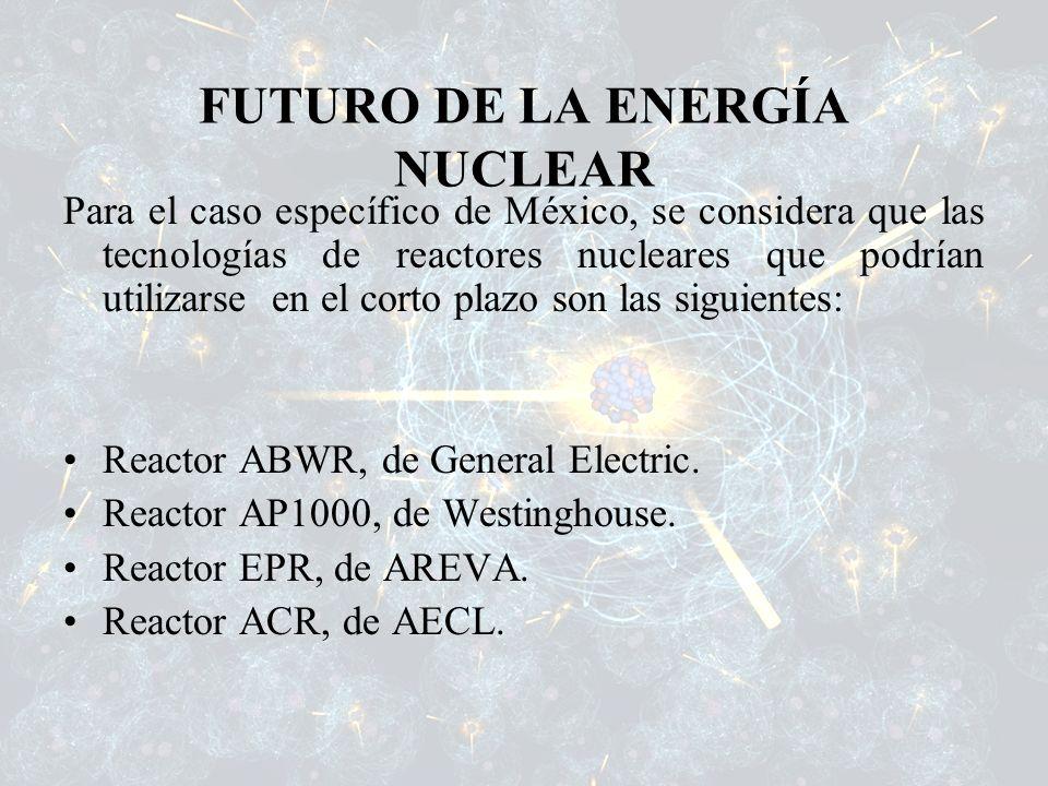 Para el caso específico de México, se considera que las tecnologías de reactores nucleares que podrían utilizarse en el corto plazo son las siguientes