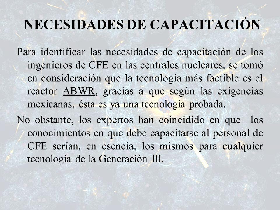 NECESIDADES DE CAPACITACIÓN Para identificar las necesidades de capacitación de los ingenieros de CFE en las centrales nucleares, se tomó en considera