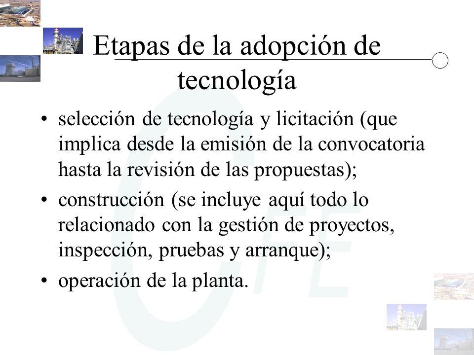 Etapas de la adopción de tecnología selección de tecnología y licitación (que implica desde la emisión de la convocatoria hasta la revisión de las pro