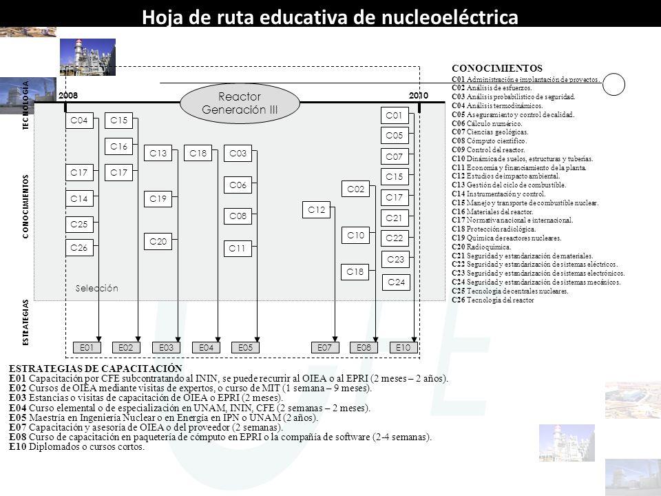 TECNOLOGÍA Reactor Generación III E01 20082010 CONOCIMIENTOS ESTRATEGIAS CONOCIMIENTOS C01 Administración e implantación de proyectos. C02 Análisis de