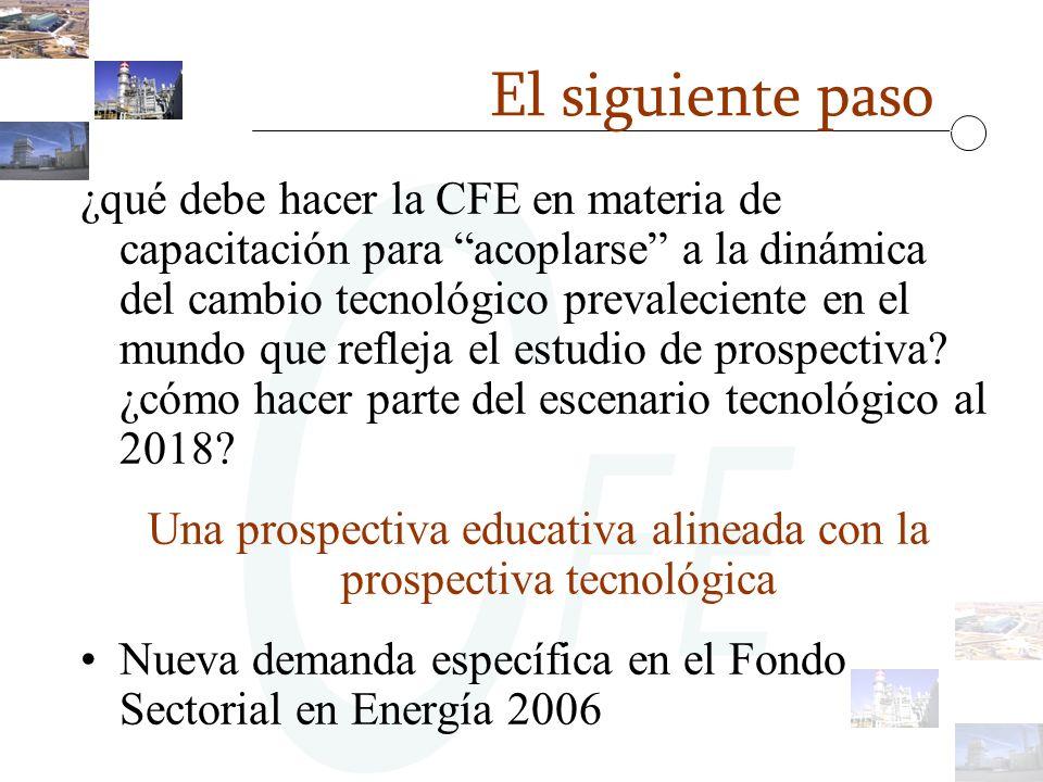 El siguiente paso ¿qué debe hacer la CFE en materia de capacitación para acoplarse a la dinámica del cambio tecnológico prevaleciente en el mundo que