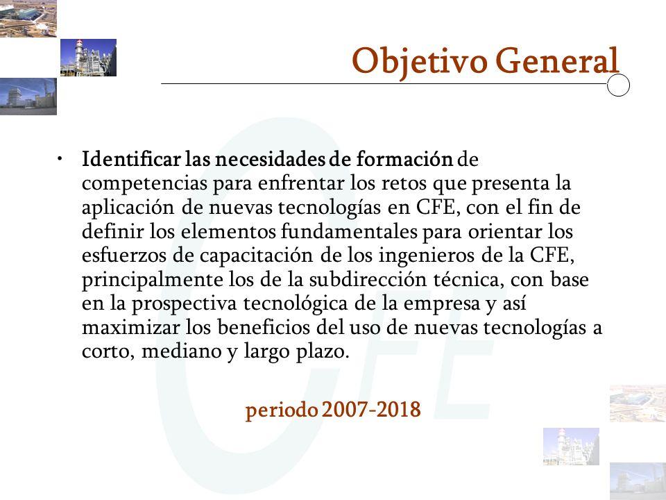Objetivo General Identificar las necesidades de formación de competencias para enfrentar los retos que presenta la aplicación de nuevas tecnologías en