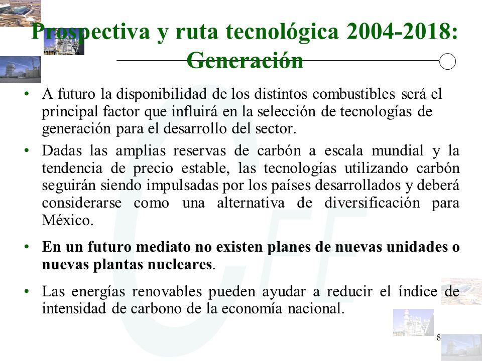 8 Prospectiva y ruta tecnológica 2004-2018: Generación A futuro la disponibilidad de los distintos combustibles será el principal factor que influirá