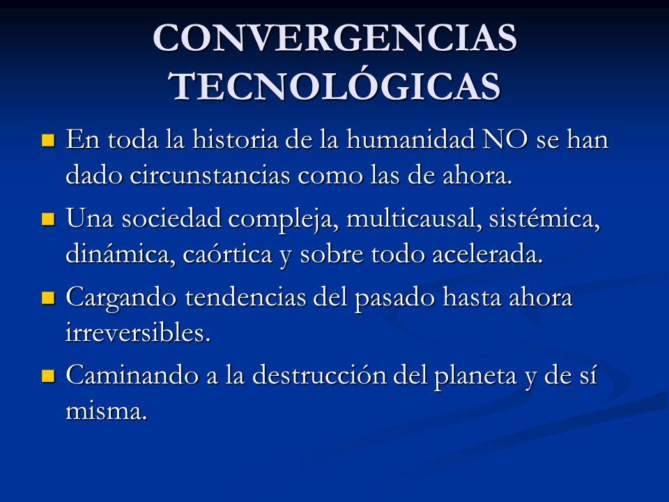 CONVERGENCIAS TECNOLÓGICAS En toda la historia de la humanidad NO se han dado circunstancias como las de ahora.