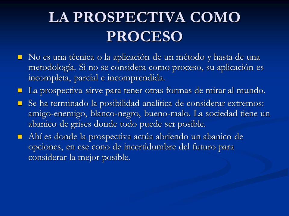 LA PROSPECTIVA COMO PROCESO No es una técnica o la aplicación de un método y hasta de una metodología. Si no se considera como proceso, su aplicación