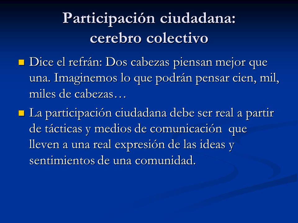 Participación ciudadana: cerebro colectivo Dice el refrán: Dos cabezas piensan mejor que una. Imaginemos lo que podrán pensar cien, mil, miles de cabe