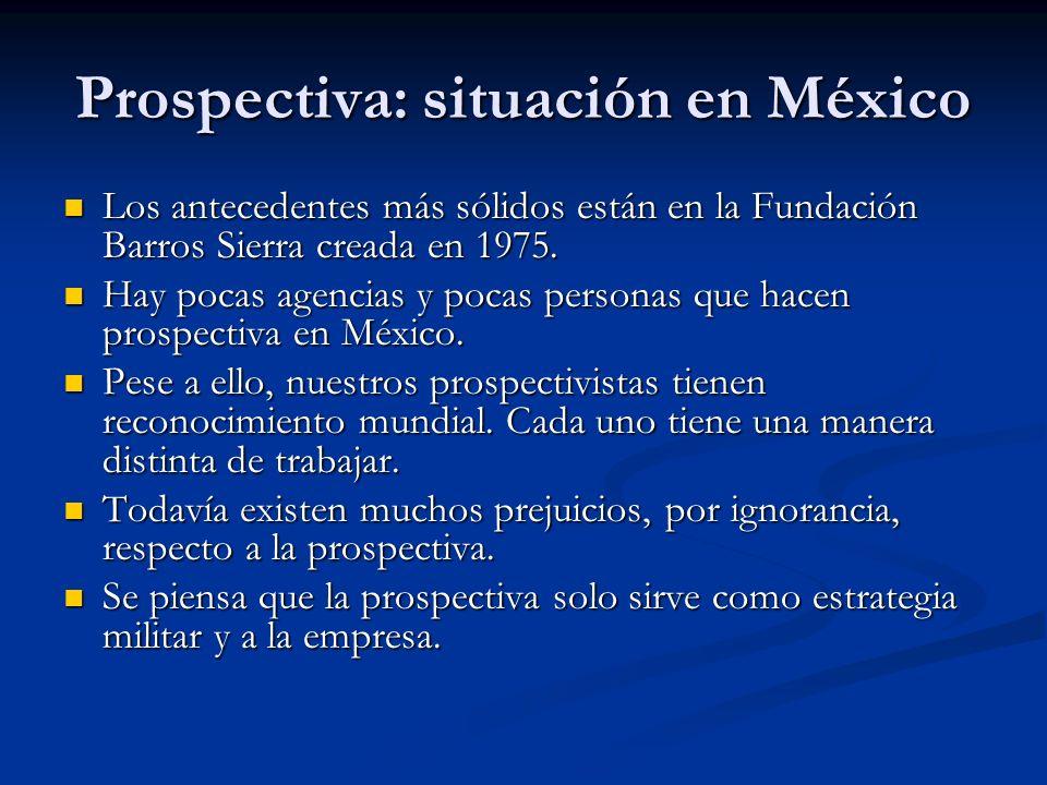 Prospectiva: situación en México Los antecedentes más sólidos están en la Fundación Barros Sierra creada en 1975.