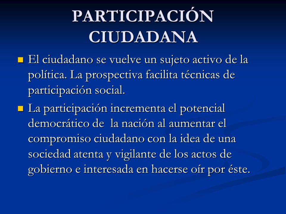 PARTICIPACIÓN CIUDADANA El ciudadano se vuelve un sujeto activo de la política. La prospectiva facilita técnicas de participación social. El ciudadano