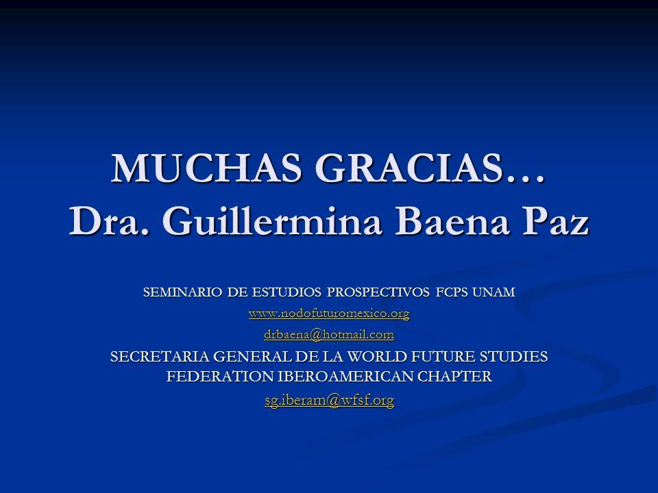 MUCHAS GRACIAS… Dra. Guillermina Baena Paz SEMINARIO DE ESTUDIOS PROSPECTIVOS FCPS UNAM www.nodofuturomexico.org drbaena@hotmail.com SECRETARIA GENERA