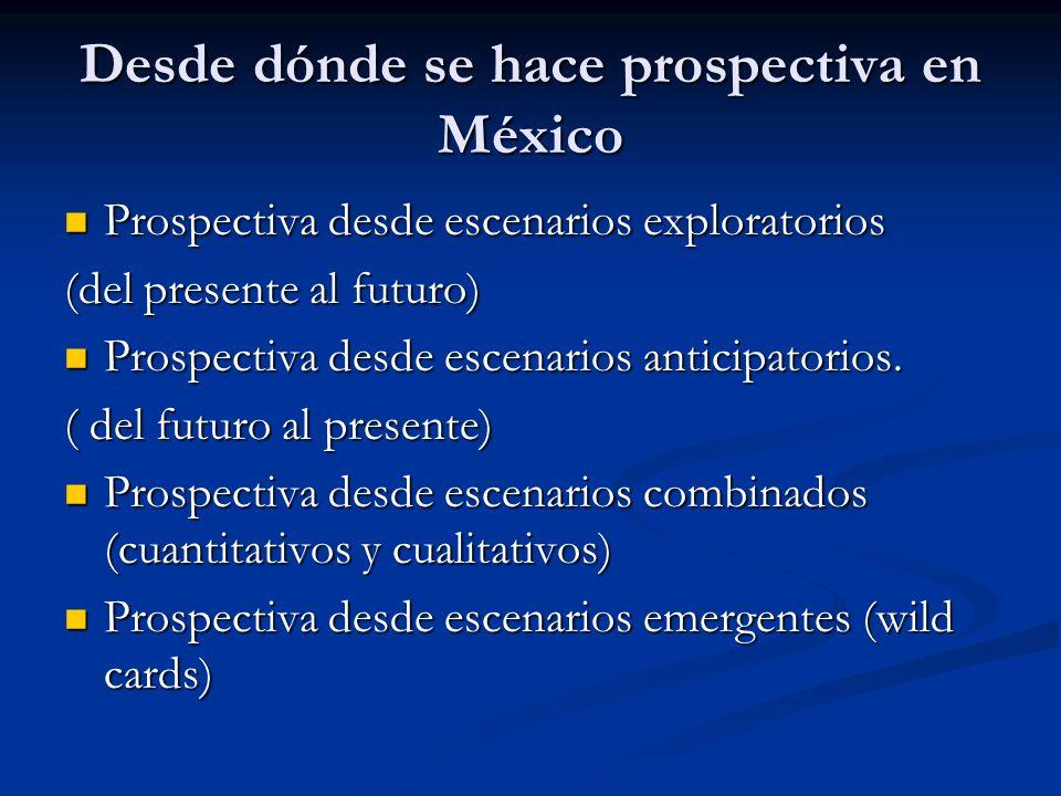 Desde dónde se hace prospectiva en México Prospectiva desde escenarios exploratorios Prospectiva desde escenarios exploratorios (del presente al futur
