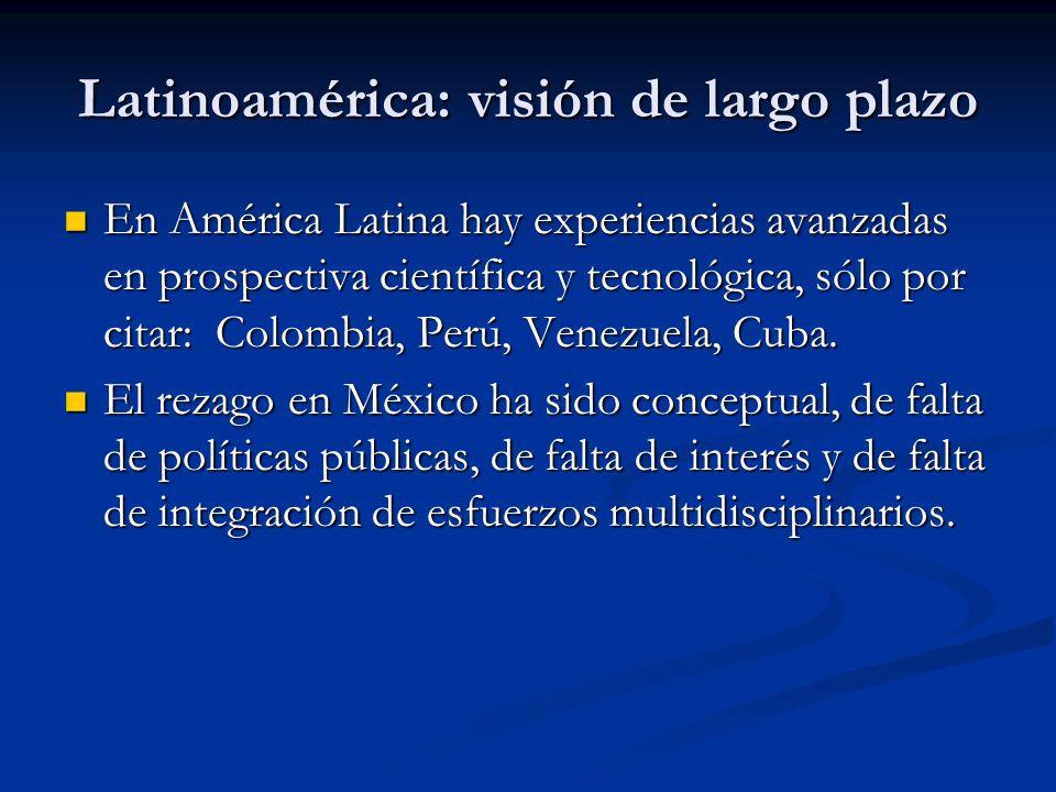 Latinoamérica: visión de largo plazo En América Latina hay experiencias avanzadas en prospectiva científica y tecnológica, sólo por citar: Colombia, Perú, Venezuela, Cuba.