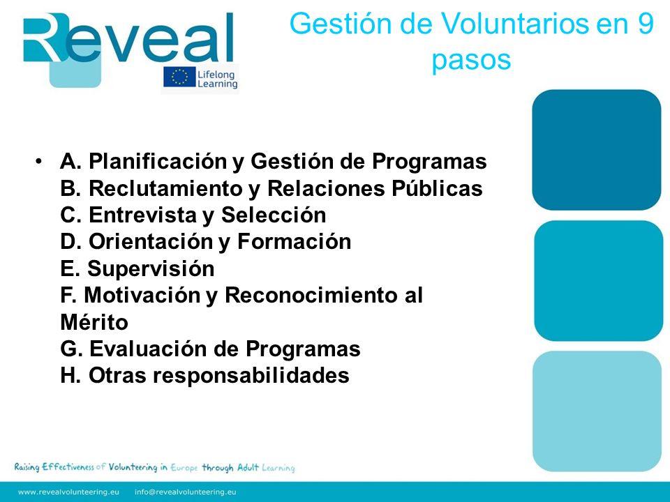 A. Planificación y Gestión de Programas B. Reclutamiento y Relaciones Públicas C.