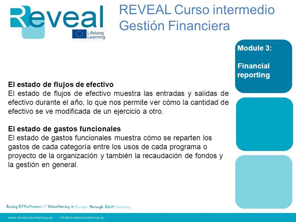 Module 3: Financial reporting El estado de flujos de efectivo El estado de flujos de efectivo muestra las entradas y salidas de efectivo durante el añ