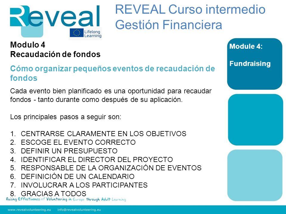 Module 4: Fundraising Modulo 4 Recaudación de fondos Cómo organizar pequeños eventos de recaudación de fondos Cada evento bien planificado es una opor