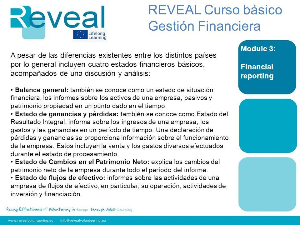 Module 3: Financial reporting REVEAL Curso básico Gestión Financiera A pesar de las diferencias existentes entre los distintos países por lo general i