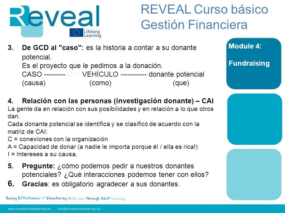 Module 4: Fundraising REVEAL Curso básico Gestión Financiera 3.De GCD al