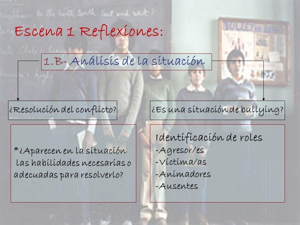Escena 1 Reflexiones: 1.B- Análisis de la situación ¿Resolución del conflicto?¿Es una situación de bullying? *¿Aparecen en la situación las habilidade