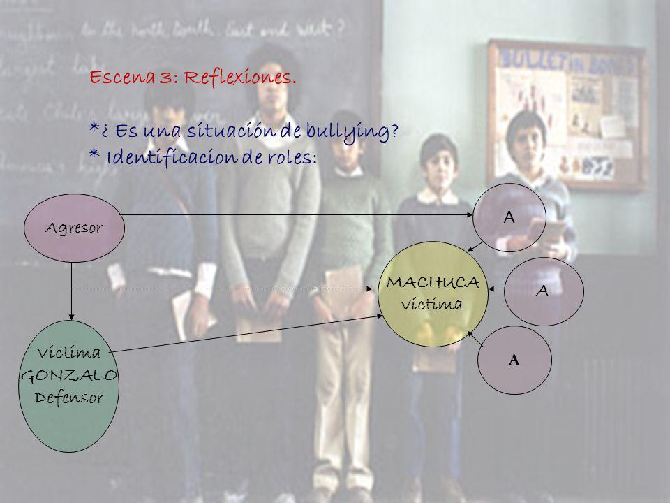 Escena 3: Reflexiones. *¿ Es una situación de bullying? * Identificacion de roles: Agresor MACHUCA víctima Victima GONZALO Defensor A A A