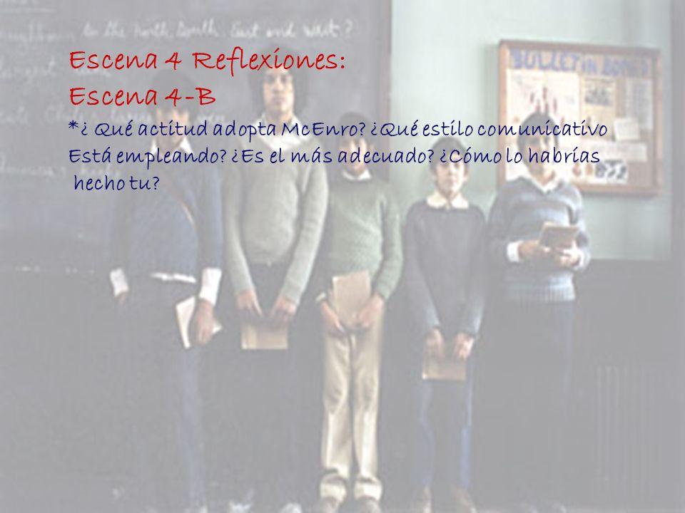 Escena 4 Reflexiones: Escena 4-B *¿ Qué actitud adopta McEnro? ¿Qué estilo comunicativo Está empleando? ¿Es el más adecuado? ¿Cómo lo habrías hecho tu