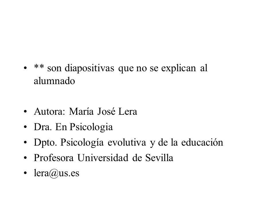 ** son diapositivas que no se explican al alumnado Autora: María José Lera Dra. En Psicologia Dpto. Psicología evolutiva y de la educación Profesora U