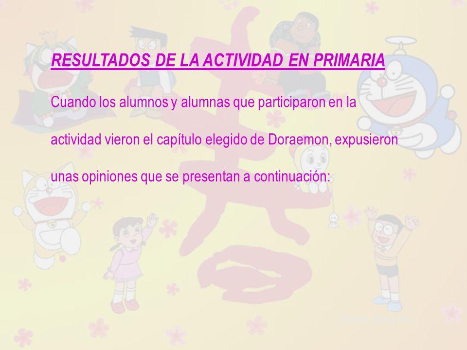 Raquel Ávila Parra RESULTADOS DE LA ACTIVIDAD EN PRIMARIA Cuando los alumnos y alumnas que participaron en la actividad vieron el capítulo elegido de