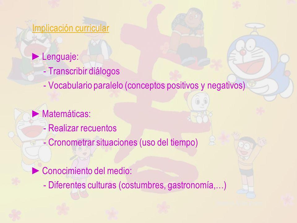 Raquel Ávila Parra Implicación curricular Lenguaje: - Transcribir diálogos - Vocabulario paralelo (conceptos positivos y negativos) Matemáticas: - Rea