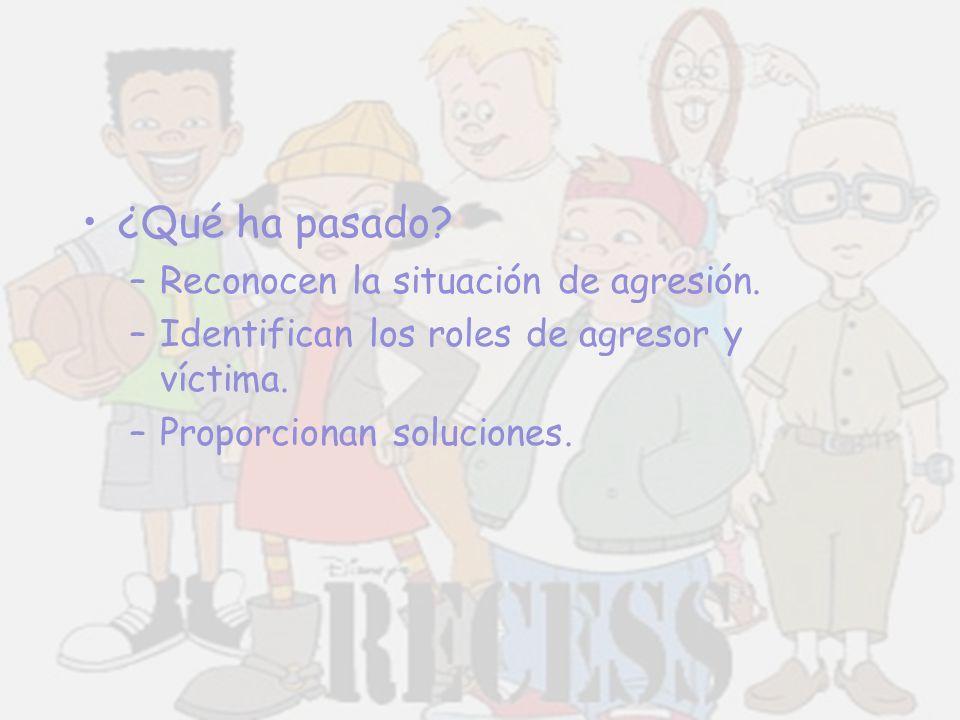 ¿Qué ha pasado? –Reconocen la situación de agresión. –Identifican los roles de agresor y víctima. –Proporcionan soluciones.