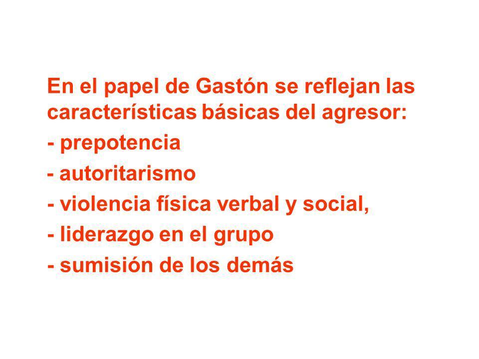 En el papel de Gastón se reflejan las características básicas del agresor: - prepotencia - autoritarismo - violencia física verbal y social, - lideraz
