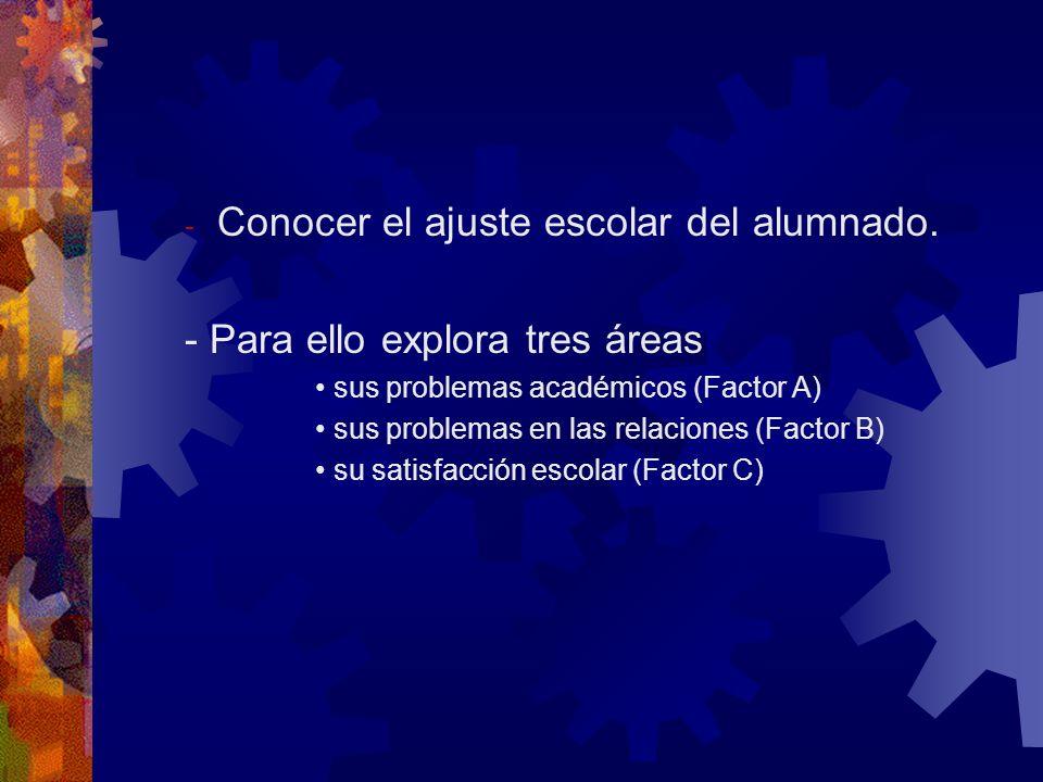 - Conocer el ajuste escolar del alumnado. - Para ello explora tres áreas sus problemas académicos (Factor A) sus problemas en las relaciones (Factor B