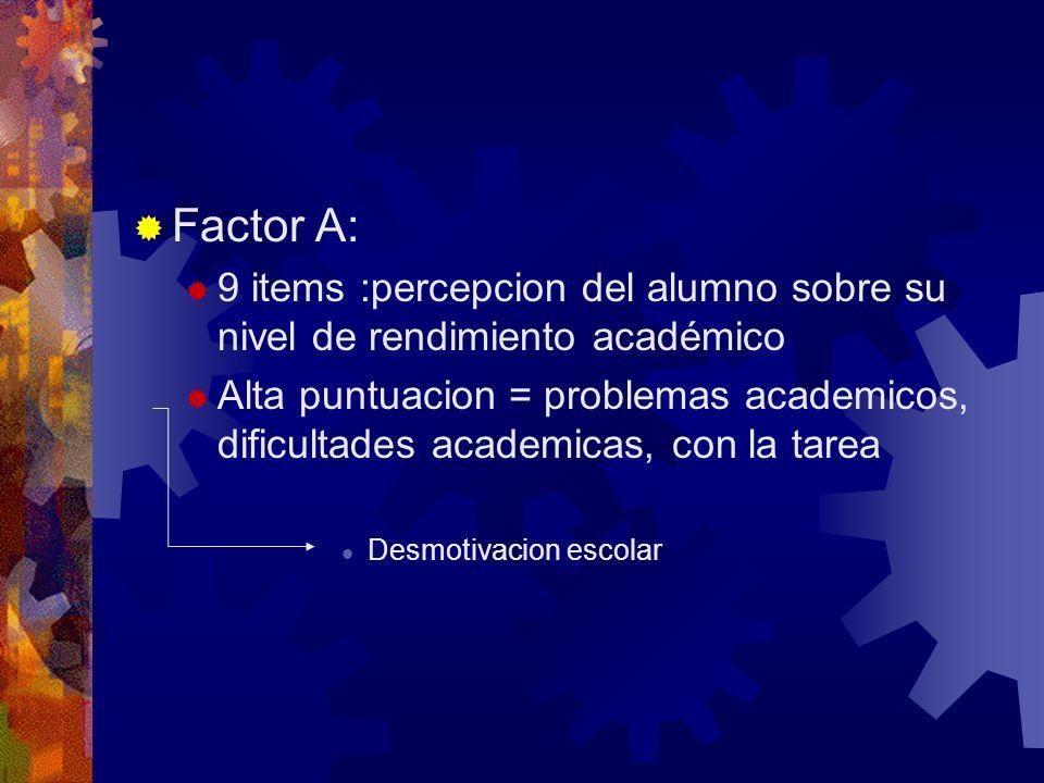 Factor A: 9 items :percepcion del alumno sobre su nivel de rendimiento académico Alta puntuacion = problemas academicos, dificultades academicas, con