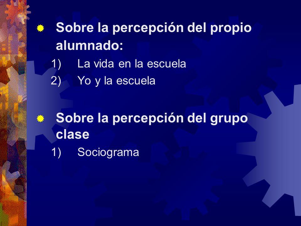 Sobre la percepción del propio alumnado: 1) La vida en la escuela 2) Yo y la escuela Sobre la percepción del grupo clase 1) Sociograma