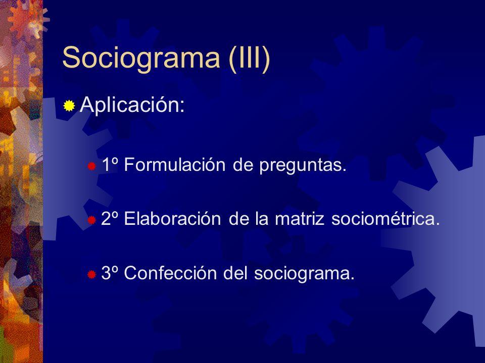 Sociograma (III) Aplicación: 1º Formulación de preguntas. 2º Elaboración de la matriz sociométrica. 3º Confección del sociograma.