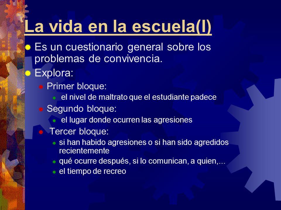 La vida en la escuela(I) Es un cuestionario general sobre los problemas de convivencia. Explora: Primer bloque: el nivel de maltrato que el estudiante