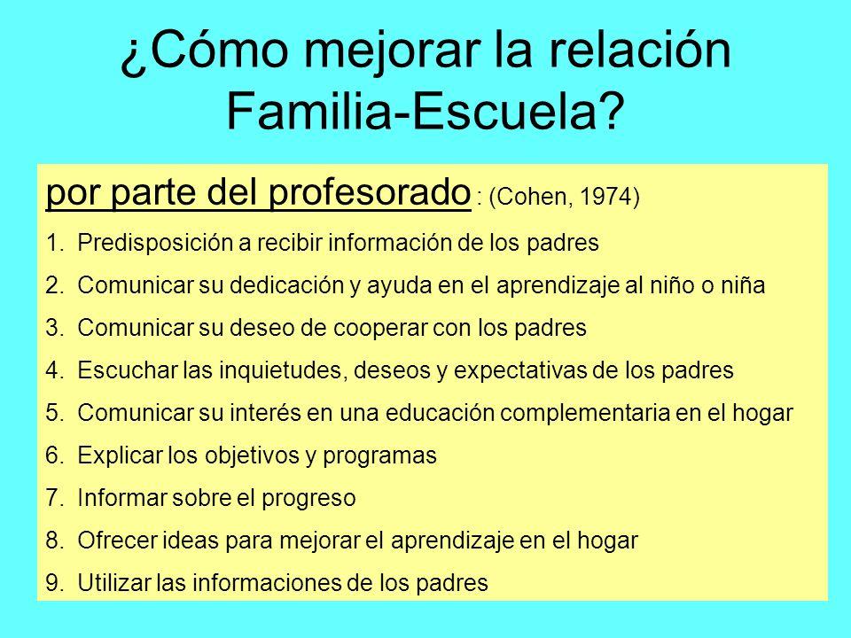 ¿Cómo mejorar la relación Familia-Escuela? por parte del profesorado : (Cohen, 1974) 1.Predisposición a recibir información de los padres 2.Comunicar