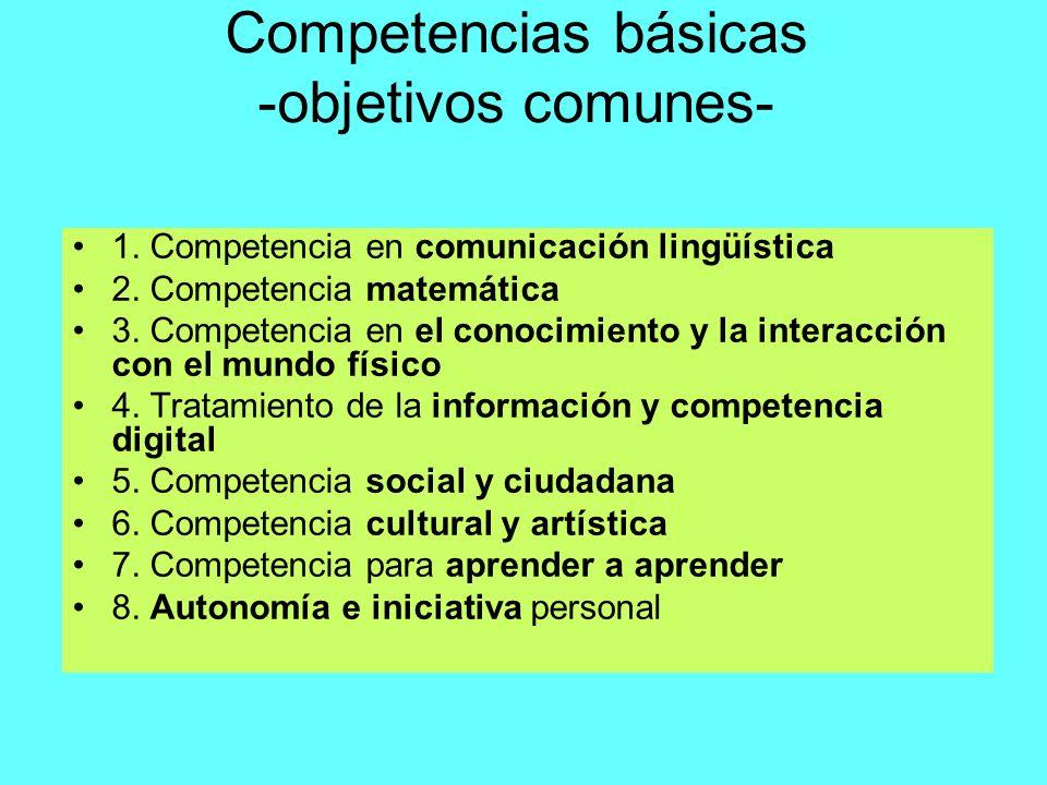 Competencias básicas -objetivos comunes- 1. Competencia en comunicación lingüística 2. Competencia matemática 3. Competencia en el conocimiento y la i