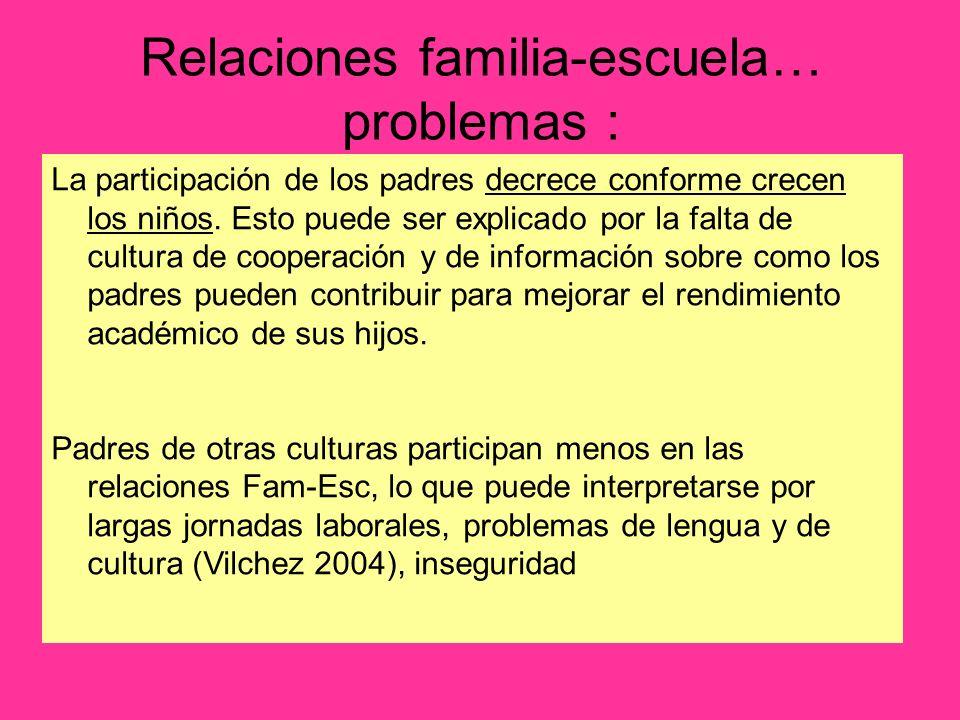Relaciones familia-escuela… problemas : La participación de los padres decrece conforme crecen los niños. Esto puede ser explicado por la falta de cul