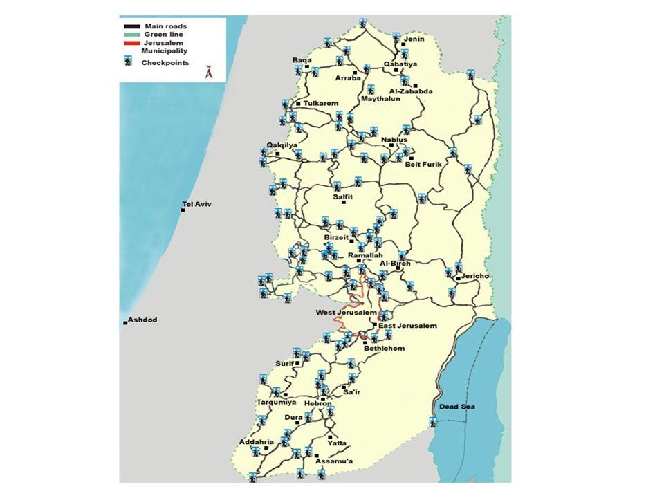 120 puestos de control militar (check points) dividen las zonas de Cisjordania en 300 enclaves separados. 120 puestos de control militar (check points