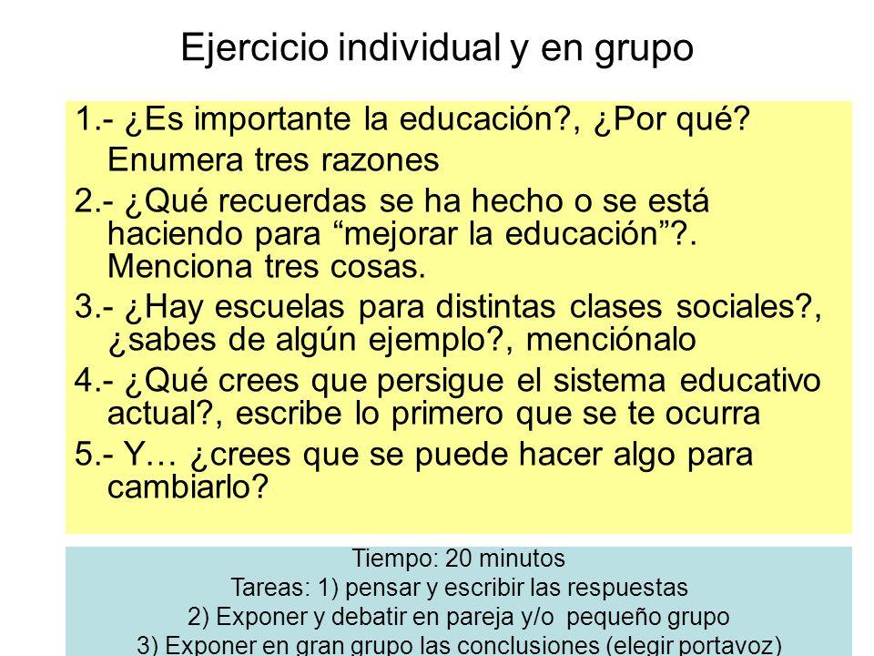 Ejercicio individual y en grupo 1.- ¿Es importante la educación?, ¿Por qué? Enumera tres razones 2.- ¿Qué recuerdas se ha hecho o se está haciendo par