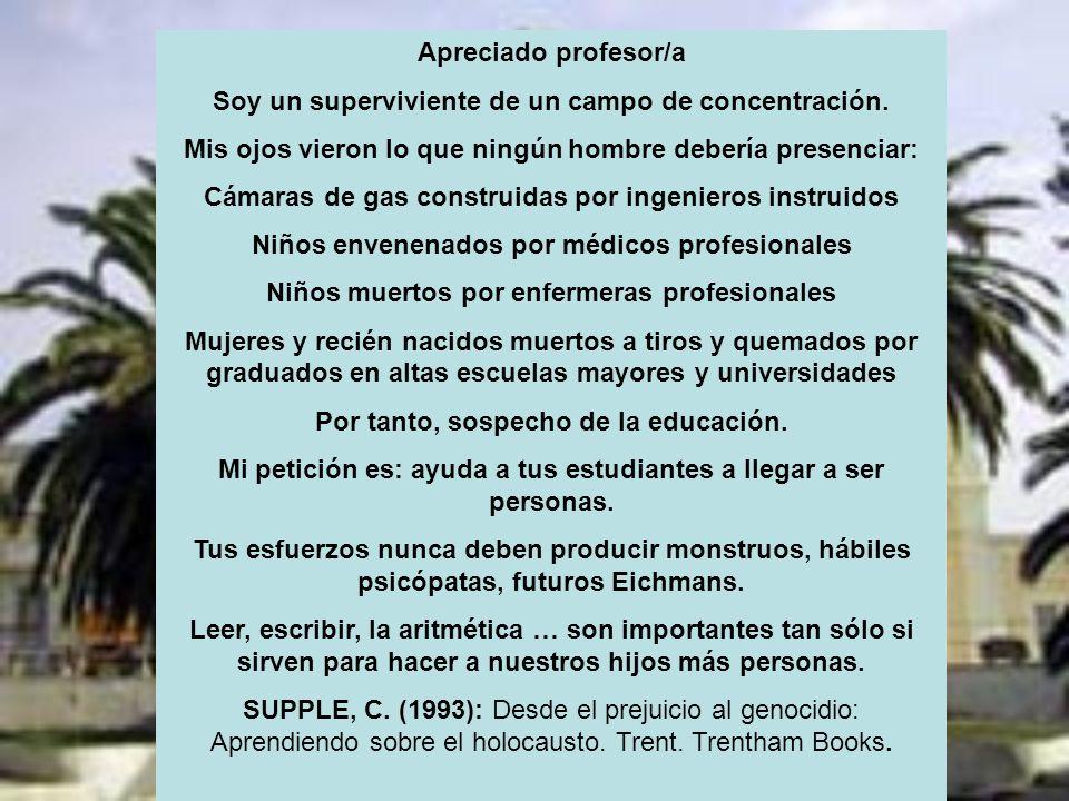 SAN FERNANDO (CÁDIZ) Apreciado profesor/a Soy un superviviente de un campo de concentración.