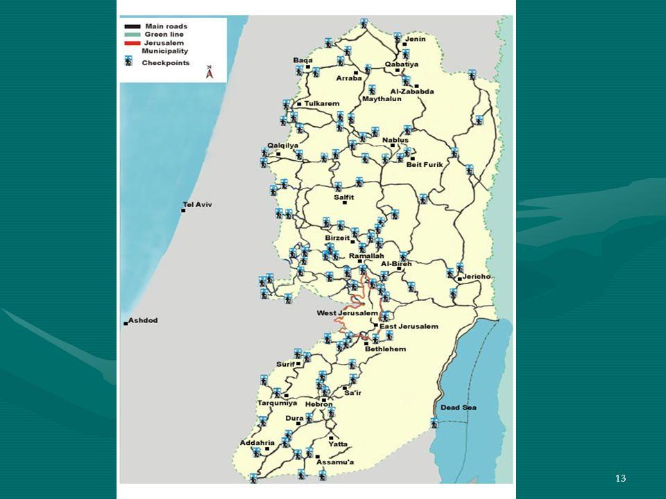 12 120 puestos de control militar (check points) dividen las zonas de Cisjordania en 300 enclaves separados. 120 puestos de control militar (check poi