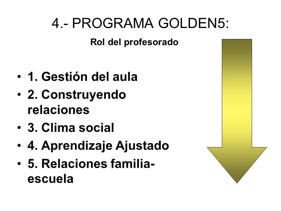 4.- PROGRAMA GOLDEN5: 1.Gestión del aula 2. Construyendo relaciones 3.
