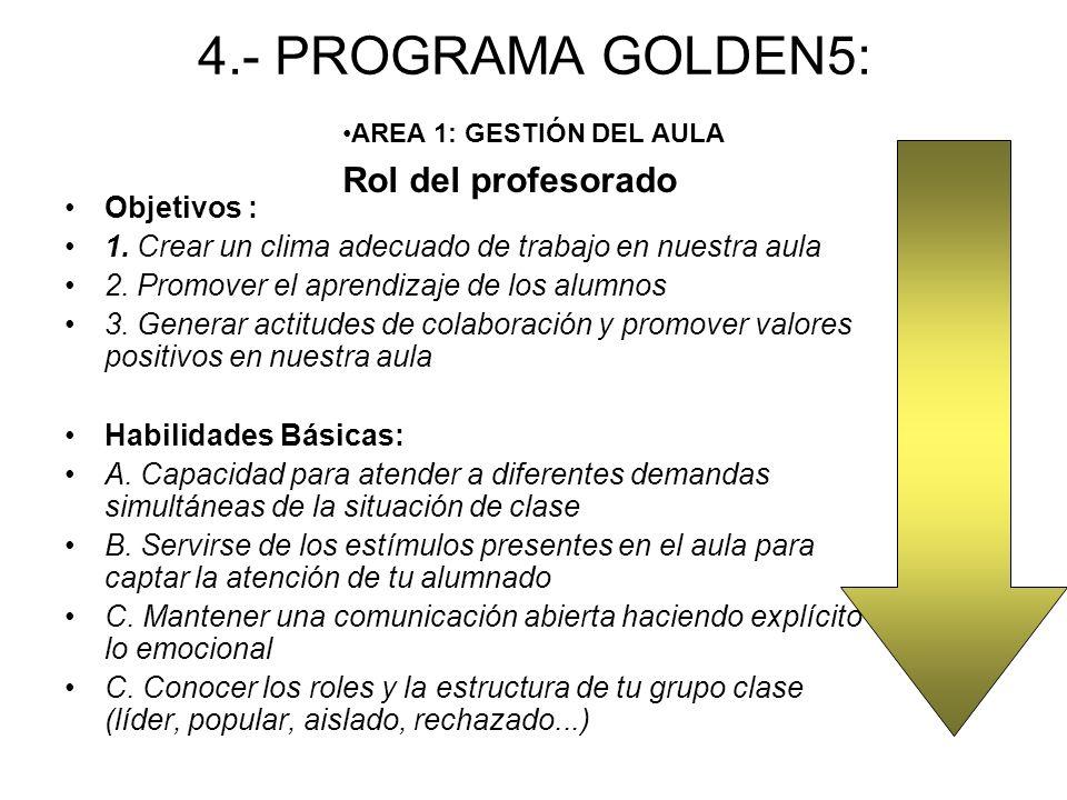 4.- PROGRAMA GOLDEN5: Objetivos : 1.Crear un clima adecuado de trabajo en nuestra aula 2.