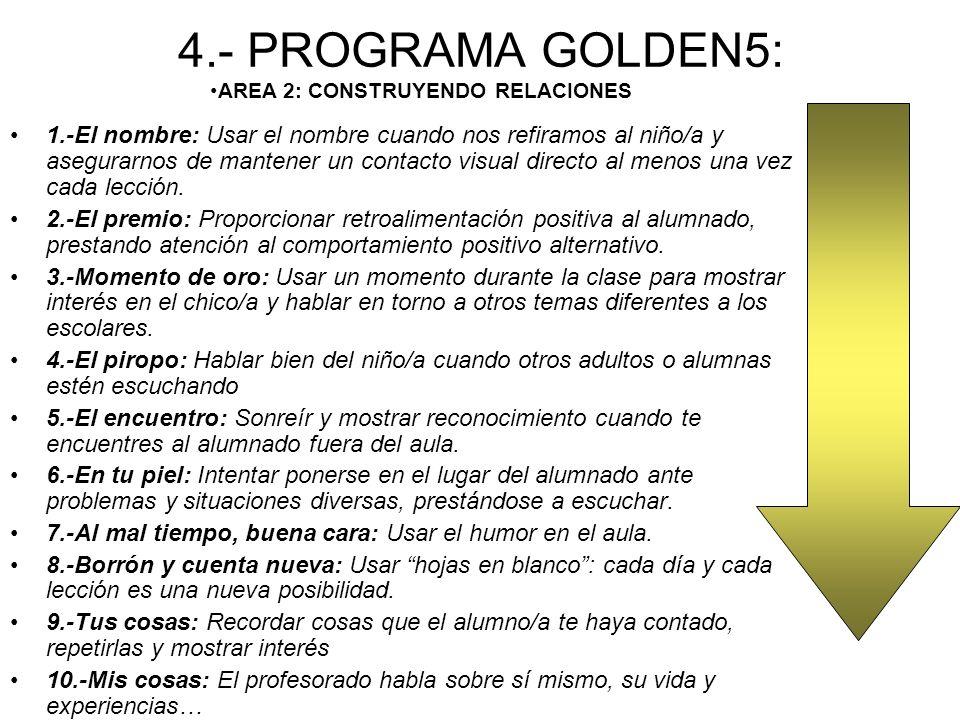 4.- PROGRAMA GOLDEN5: 1.-El nombre: Usar el nombre cuando nos refiramos al niño/a y asegurarnos de mantener un contacto visual directo al menos una vez cada lección.