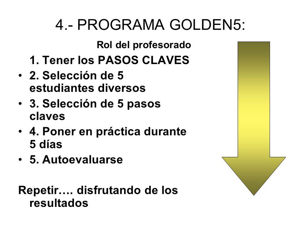 4.- PROGRAMA GOLDEN5: 1.Tener los PASOS CLAVES 2.
