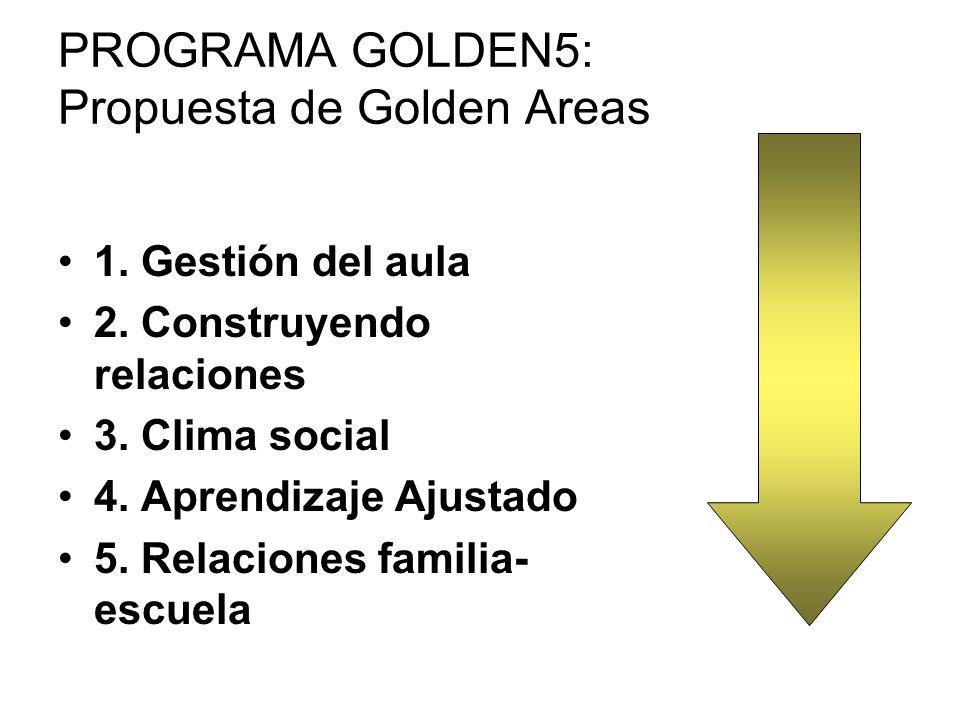 PROGRAMA GOLDEN5: Propuesta de Golden Areas 1. Gestión del aula 2. Construyendo relaciones 3. Clima social 4. Aprendizaje Ajustado 5. Relaciones famil