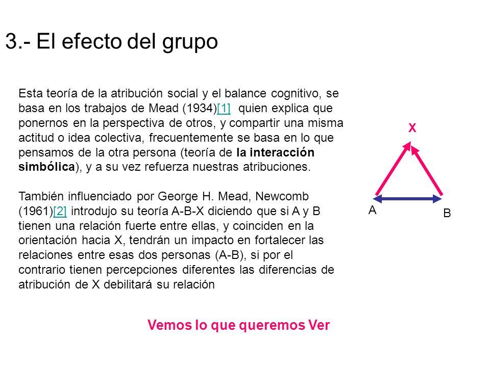 3.- El efecto del grupo A B X Esta teoría de la atribución social y el balance cognitivo, se basa en los trabajos de Mead (1934)[1] quien explica que